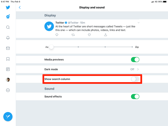 Latest iPad Update Twitter Adds Option to Disable Multicolumn View